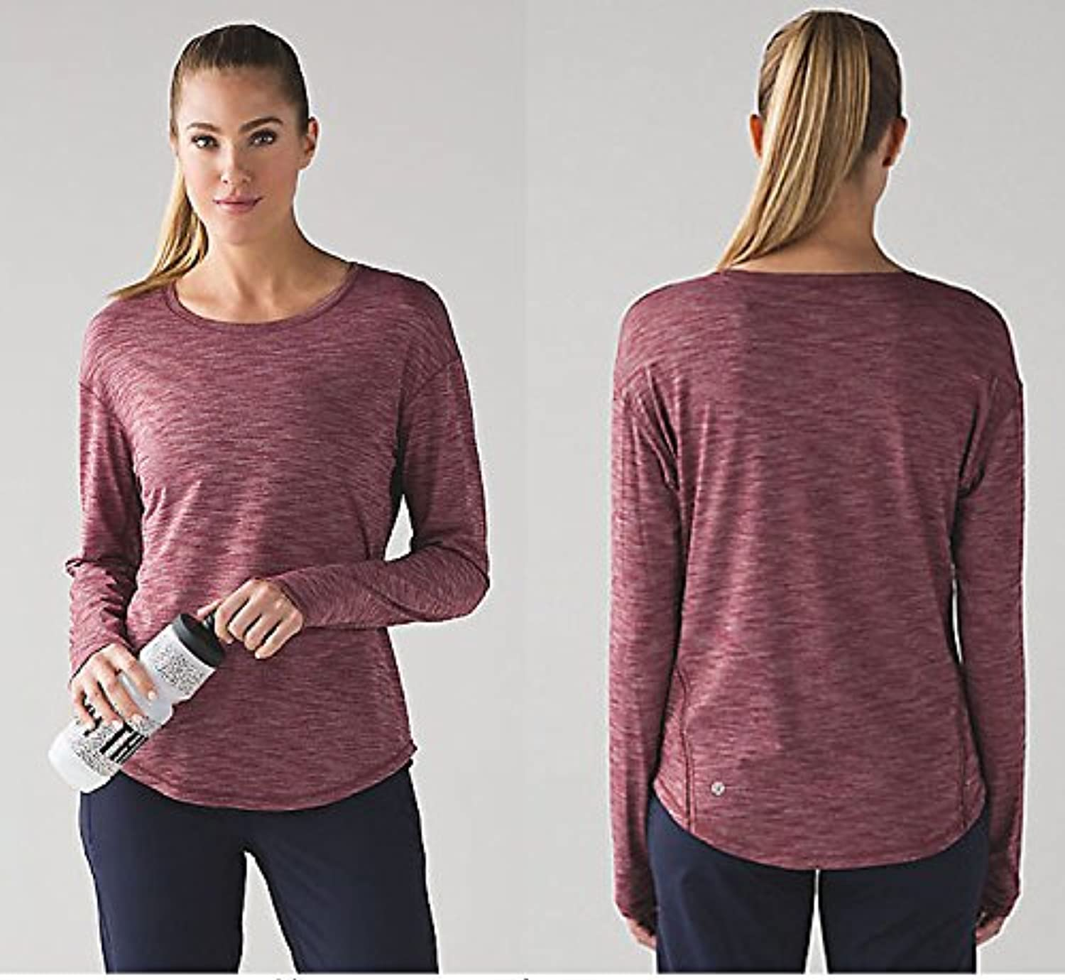 Qsheulx Yoga Suit Long Sleeved Female Running Fitness Yoga Body Speed Dry Long Sleeved Lemon,L,C301 color Woven Autumn Long Sleeved Yarn Dyed Red