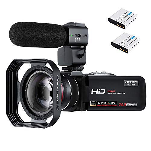 ORDRO FHD 1080P 30FPS Camcorder Night Vision Video Camera 3.0''IPS Digital Video Recorder Wi-Fi Camera with Microphone Wide-Angle Lens Hood Handheld Stabilizer 32G SD Card and 2 Batteries (HDV-Z20)