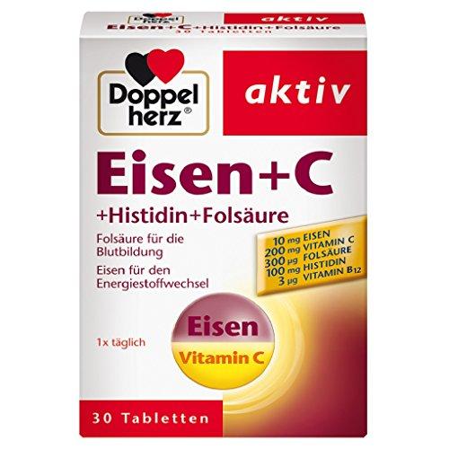Doppelherz Eisen + C + Histidin + Folsäure – Eisen unterstützt die normale Bildung der roten Blutkörperchen und trägt zum normalen Energiestoffwechsel bei – 30 Tabletten