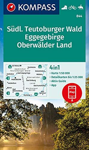 KOMPASS Wanderkarte Südlicher Teutoburger Wald - Eggegebirge - Oberwälder Land: Wanderkarte mit Aktiv Guide und Rad- und Reitwegen. GPS-genau. 1:50000 (KOMPASS-Wanderkarten, Band 844)