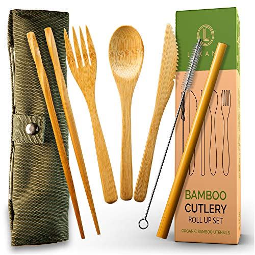TSA Approved Bamboo Travel Utensils with Case