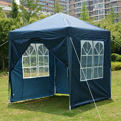 Blue Heavy Duty Pop-up Gazebo Marquee Canopy with 4 Side Panels and Carrybag - 2m x 2m