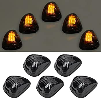 5pcs Smoke Lens With Amber LED Cab Roof Marker Lights Roof Top Lamp Running Light Replacement For Truck SUV Ford 1999-2016 E,F Series ,Smoked Lens With Amber LED