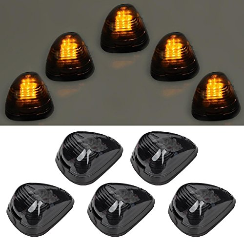 5pcs Amber Lens Amber LED Cab Roof Marker Lights, KOMAS Roof Top Lamp Clearance Running Light Replacement for Truck SUV Ford 1999-2016 E/F (Smoked Lens & Amber LED)