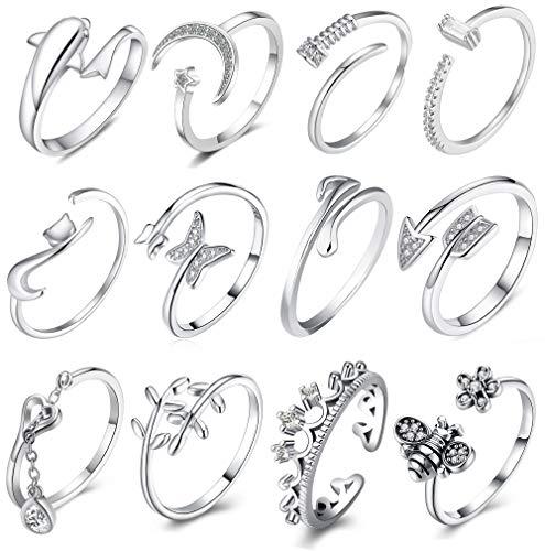 Juego de 12 anillos de flecha chapados en plata para mujer, diseño retro, vintage, diseño de estrella, apilables, tamaño ajustable