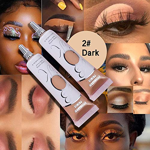MAEPEOR Matte Eyeshadow Primer 2PCS Prevent Oily Lids and Creasing Eye Primer Base Long-lasting Waterproof & Smudgeproof Eyeshadow Makeup Primer for All Skin-tone (2PCS, Nude+White)