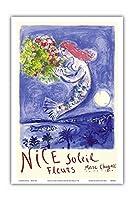 ニースサンフラワーズ - ビンテージな世界旅行のポスター によって作成された マルク・シャガール c.1961 - アートポスター - 31cm x 46cm