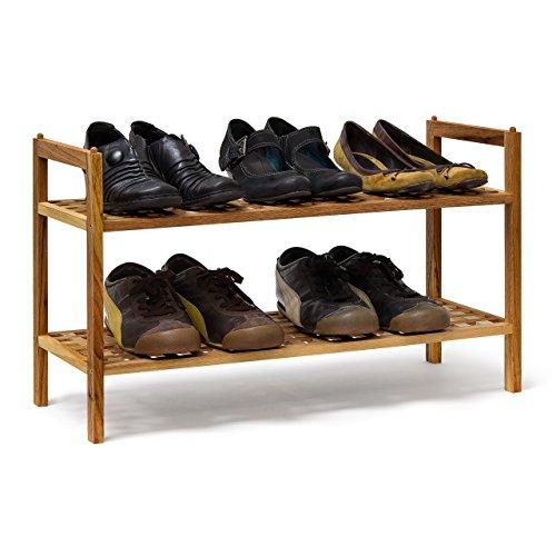 Relaxdays Schuhregal Walnuss stapelbar H x B x T: 40,5 x 69 x 26 cm Schuhablage mit 2 Ablagen für ca. 6 Paar Schuhe Holz Schuhrschrank zum aufeinander stellen aus Nuss, natur braun
