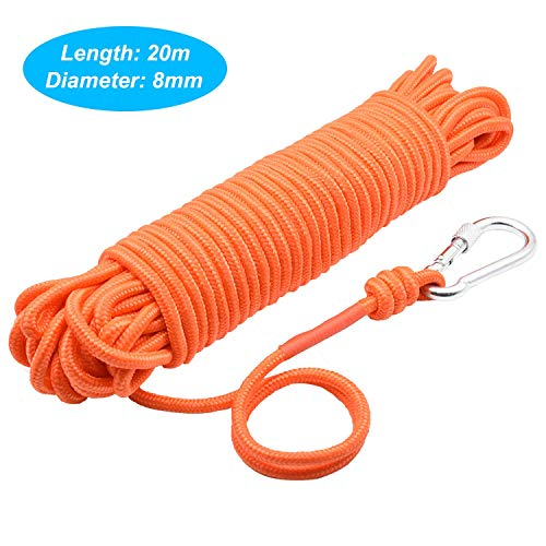 Fischen-Magnetseil mit Karabiner, 65 Fuß (20 Meter) Allzweck-Nyloncord mit Hoher Festigkeit Sicherheit und Langlebiges Seil, Schweres Seil mit Sicherheitsverriegelung, Durchmesser 8mm(0.31