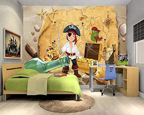 SUNNYBZ Wallpaper Wandgemälde Tapete3D Beibehang Benutzerdefinierte Tapeten 3D Fototapeten Hecke Pirat Kinderzimmer Hintergrund Dekorative Gemälde 3D Wallpaper Papel De Parede @ 250 * 175 Cm