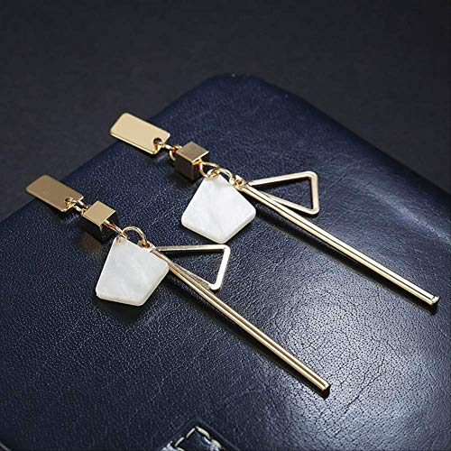Pendiente Colgante Pendientes largos simples hechos a mano gris Pendientes colgantes con tira de triángulo geométrico para regalo de mujerblanco