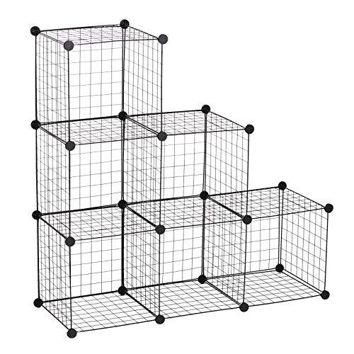 HOMCOM DIY 6 Cube Metal Wire Rack Interlocking Storage Cabinet Living Room Organiser Display Shelves Black