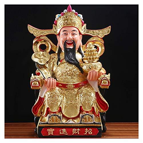 LXHJZ Adornos para Sala Estar, Gran tamaño Feng Shui Dios la Riqueza Estatua-Resina Dios la Riqueza Decoración para la Suerte y la Riqueza hogar u Oficina Adorno Decorativo para el hogar