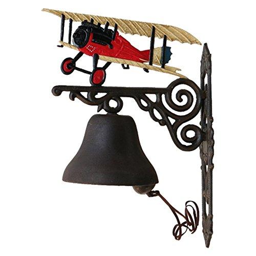 Luxe Pur UG klok met vliegtuig rode dubbele dekking rood gietijzer deurbel antiek huisdeur