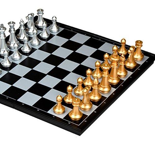 HQQ Jeu de Planches d'échecs, échiquier de 36CM X 36CM avec Le jacquet d'échecs pour des Enfants et Le Panneau de Jeu Pliable et portatif d'adulte (Color : A)