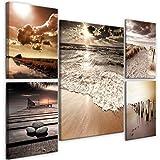 decomonkey Bilder Strand Meer 110x80 cm 5 Teilig