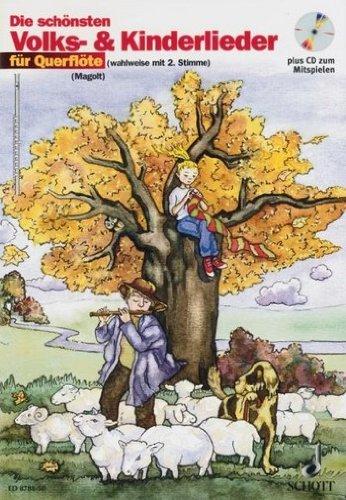 De mooiste volks- en kinderliedjes voor dwarsfluit (+CD) met potlood – 31 populaire melodieën zeer gemakkelijk geplaatst voor 1-2 dwarsfluiten met tekst en symbolen (noten/sheet music).