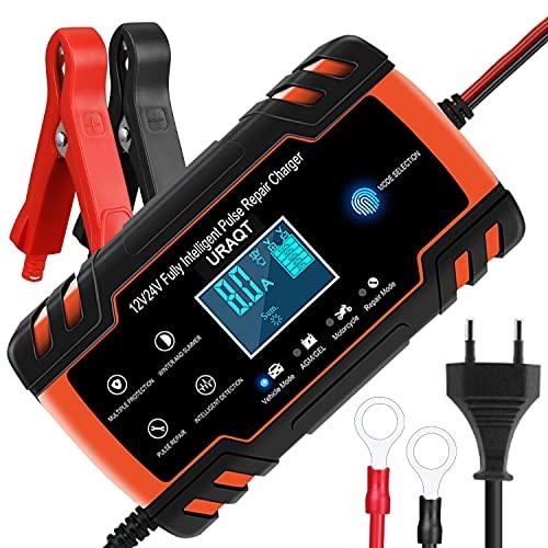 URAQT Ladegerät für Autobatterie, 12V/24V Vollautomatisches Intelligent Ladegerät mit LCD-Touchscreen, Erhaltungsladegerät und Desulfator für Auto, Motorrad, LKW, PKW, Boot, Wohnmobil und Wohnwagen