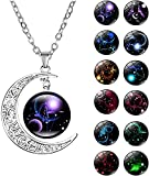 HTNBO Women Sterling Silver Horoscope Zodiac 12 Constellation Astrology Galaxy & Crescent Moon Glass Bead Pendant Necklace (Libra (Sep 23 - Oct 22))