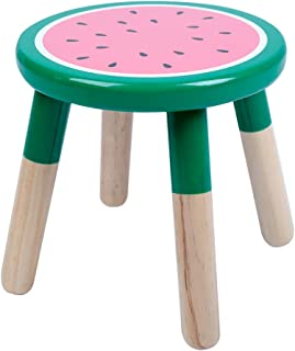 RUYU 9 Inch Kids Solid Hard Wood Fruit Chair, Crafted Hand-Painted Wood with Assembled Four-Legged Stool, Bedroom, Playroom, Watermelon Furniture Stool for Kids, Children, Boys, Girls(❤Watermelon❤)