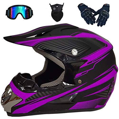 KIVEM Casco de Moto, Casco de Motocross con Gafas Máscara Guantes Motocicleta Todoterreno MTB ATV BMX Quads Casco Cross para Niños y Adultos,Matte Black Blue-X-Large