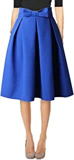 Hanlolo Womens 50s Vintage Skirt Knee Length High Waist Pleated Midi Bow Skirts