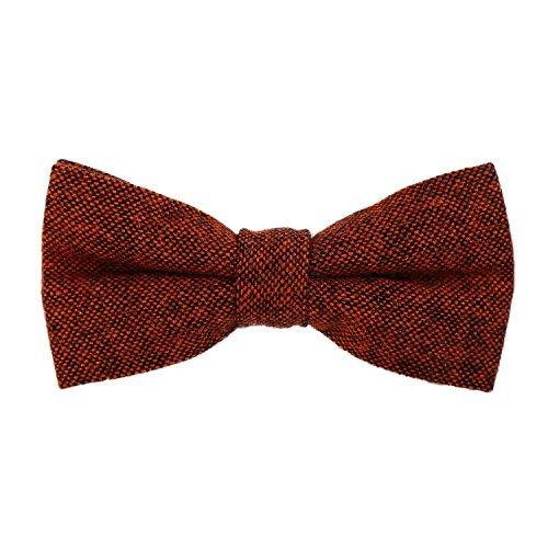 DonDon DonDon Herren Fliege 12 x 6 cm Baumwolle gebunden und längenverstellbar orange schwarz
