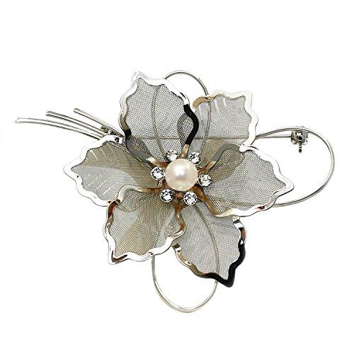 [enyapearl] お花のデザイン アコヤ真珠 ブローチ パール ブローチ ABR543