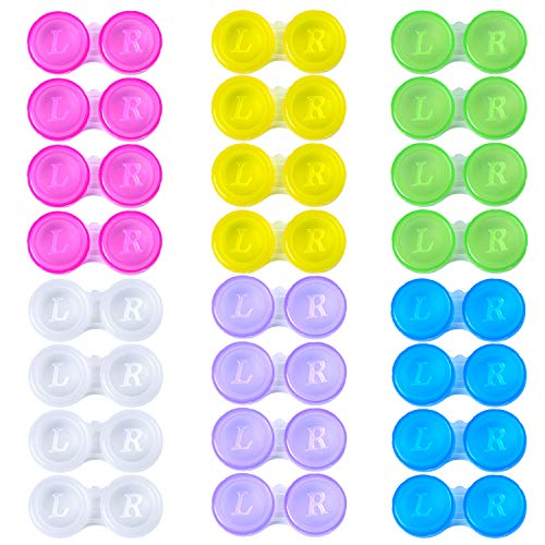 Elcoho 24 Pack Contact Lens Cases Contact Lens Holder Box Left/Right Eyes Contact Lens Container, 6 Colors