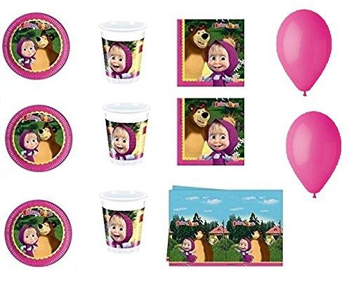 CDC – Kit N ° 15 Fête et Party Masha et orso- (32, 32 verres, 40 assiettes 40 serviettes, 1 nappe, 100 ballons)