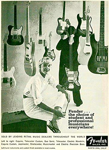 1960 Fender Guitar & Bass Line - Promotional Advertising Poster