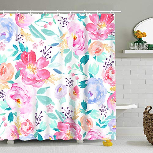 Stacy Fay Watercolor Floral Shower Curtain for Girls, Pink Flowers Fabric Bathroom Curtain Set with Hooks Summer Bathroom Decoration 72x72 Inches Machine Washable