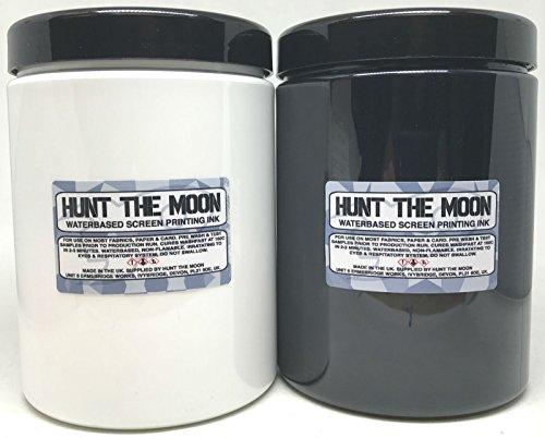 Hunt The Moon - Inchiostro per serigrafia a base d'acqua, confezione da 2 x 1000 ml
