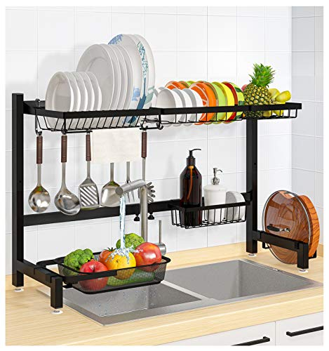 Over the Sink Dish Drying Rack YASONIC 2 in 1 Dish Drainer Shelf with Colander Adjustable 2Tier Organizer Shelf Space Saver Utensils Holder for Kitchen