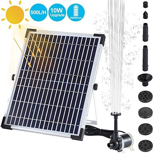 500L / H Bomba de fuente de baño solar para pájaros 10W, Bomba de circulación de bomba de fuente de agua con energía solar impermeable al aire libre para piscina Estanque Decoración de jardín