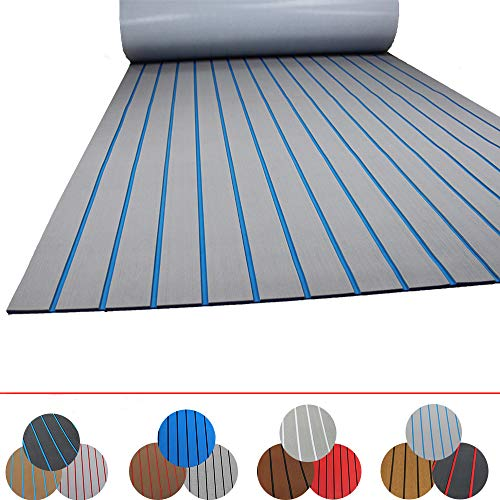 Happy yacht 945quot× 354quot EVA Foam Boat Decking Sheet Faux Teak Decking SelfAdhesive Marine Yacht RV Swimming Pool Boat Flooring Sheet Thick NonSkid Light Gray and Blue Stripes