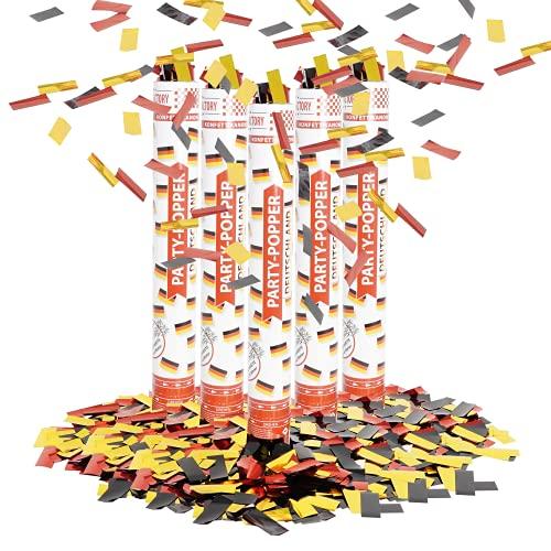 Party Factory 5 Party Popper, 40 cm, Deutschland Konfetti bis 8 m Effekthöhe, Fanartikel für WM oder EM, Länderspiele