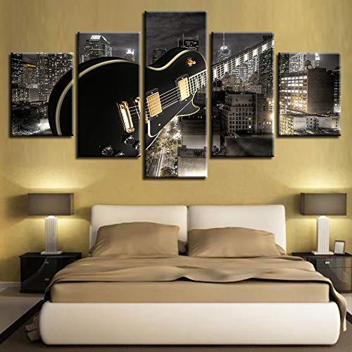 TRJGDCP Home Decor Canvas Woonkamer HD Gedrukt Moderne 5 Panel Gitaar Bouwen Muziek Foto's Schilderen Muur Art Modulaire Poster Unframed Canvas Pictures