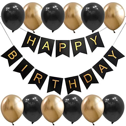 Lausatek 誕生日 バルーン 飾り付け 風船 ハッピー バースデー happy birthday ガーランド 風船 装飾 お祝い サプライズ 大人 彼氏 男性 女性 ブラック