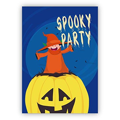 Grappige, griezelige Halloween uitnodigingskaart met pompoen en heks: Spooky Party 16 Grußkarten