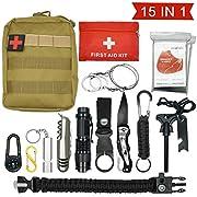 Abida Survival Kit, 15 in 1 Outdoor Emergency Survival Kit mit Survival-Decke, Klappmesser, Feuerstarter, Tactical Pen, Taktische Taschenlampe zum Wandern, Camping, Reisen (mit Benutzerhandbuch)
