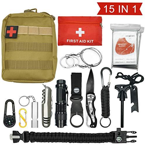 1 en 14-D/' Urgence Compact Kit de survie en plein air Randonnée Tactique Recon Camping