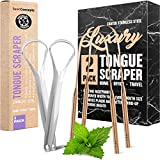 Tongue Scraper, Reduce Bad Breath (Medical Grade), Stainless Steel Tongue Cleaners, 100% BPA Free Metal Tongue Scrapers Fresher Breath in Seconds