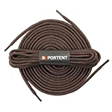 [Portent] Round Shoelaces, Work Boot Replacement Laces (Brown - L)