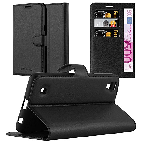 Cadorabo Hülle für LG X Power in Phantom SCHWARZ - Handyhülle mit Magnetverschluss, Standfunktion & Kartenfach - Hülle Cover Schutzhülle Etui Tasche Book Klapp Style