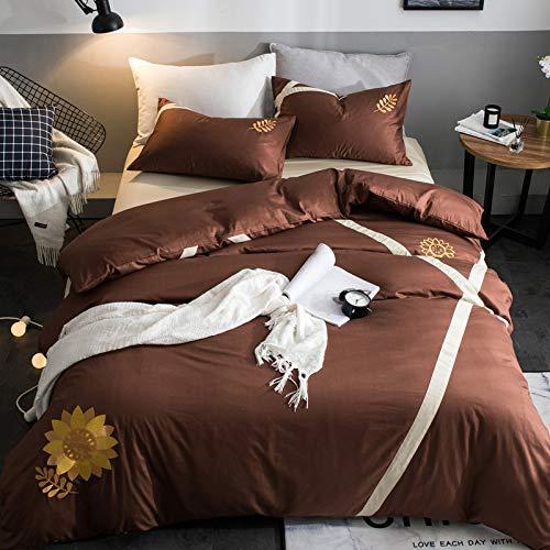 Yaonuli sprei voor tweepersoonsbed, met de hand geborduurd, 4-delig, gewatteerd, klein, effen, zonnebloem, 200 x 230 cm