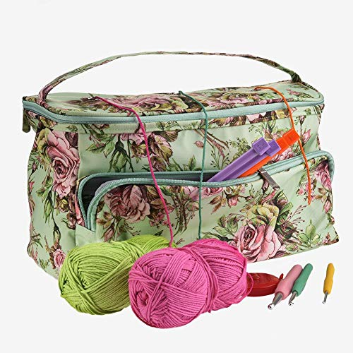 Bolsa de Lana para Tejer Ovillos Organizador Ganchillo y Punto para Crochet Labores de Punto Knitting Bag,3 colores , Organizador de suministros de ganchillo para hacer punto de bricolaje
