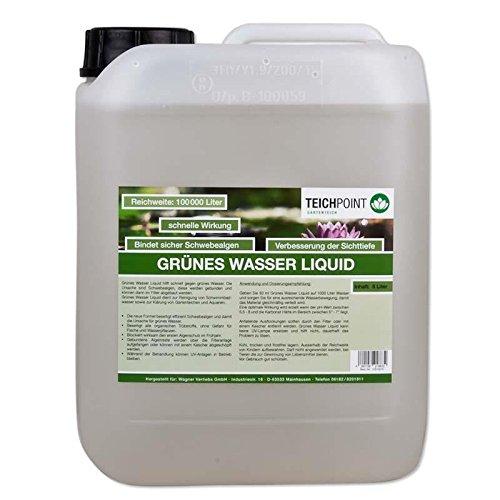 Teichpoint Grünes Wasser Liquid gegen Schwebealgen, flüssiger Schwebealgen verdränger auch im Schwimmbad Pool oder Aquarium (5 Liter)