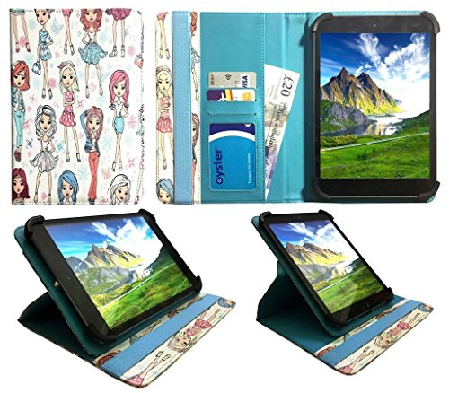 Sweet Tech Universal 360 Degree Rotating Wallet Case Cover Folio [CUTE GIRL] for Lenovo Tab E7 7 Inch Tablet