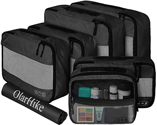 OlarHike 7 Set Packing Cubes for Travel, Luggage Organizers with Laundry Bag & Toiletry Bag (Black)